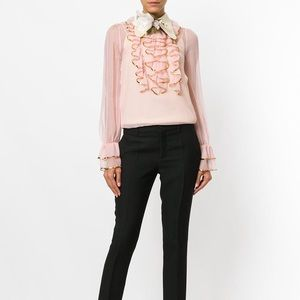 Gucci Pink Sheer Sequin Raffle Blouse NWT
